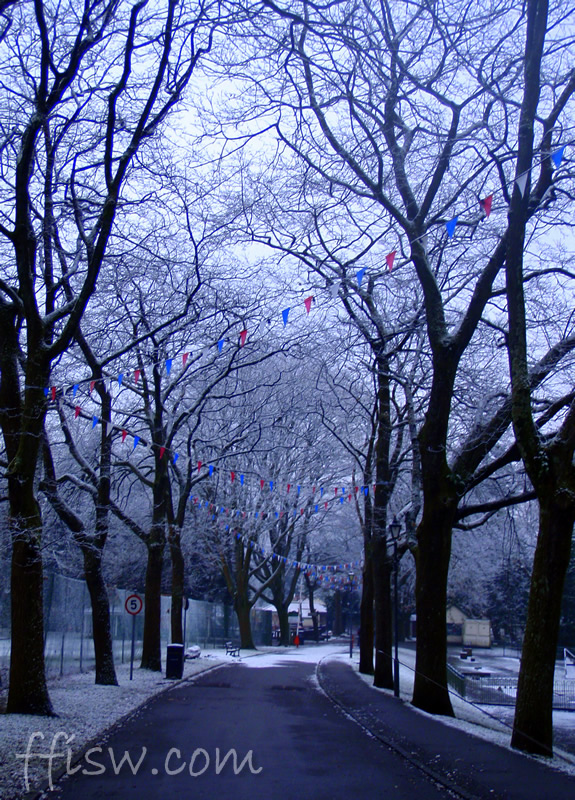 ...snow in the park...