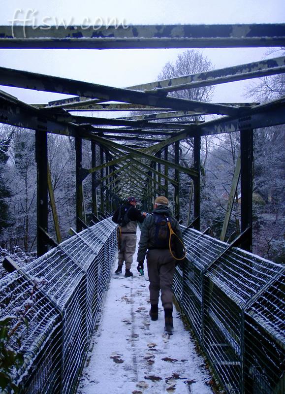 ...snow on a bridge...