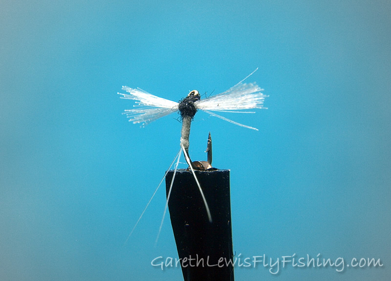 Caenis Spent Spinner (#30) tied on a Varivas 2300 (Ultra Midge)...
