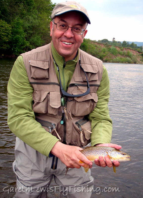 One of the many guided trips on the River Usk - David Bolton and a lovely Usk brown trout...