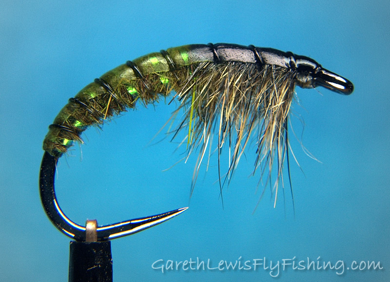 Olive Czech Nymph with Flash Rib