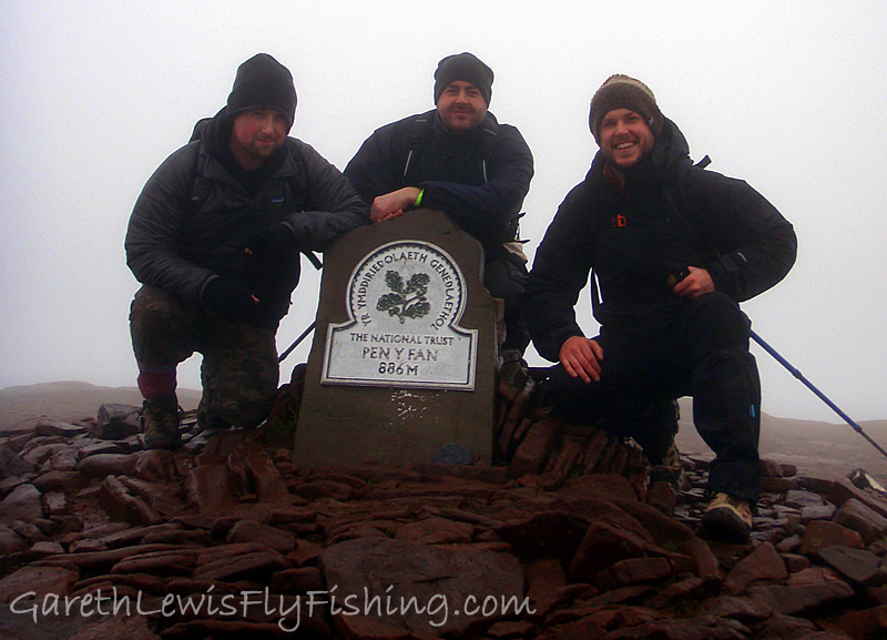 On the summit of Pen y Fan! 886m/2906ft. From left to right - Paul Cremin, Gareth Rowlands (abother TrekFest attendee), and yours truly.